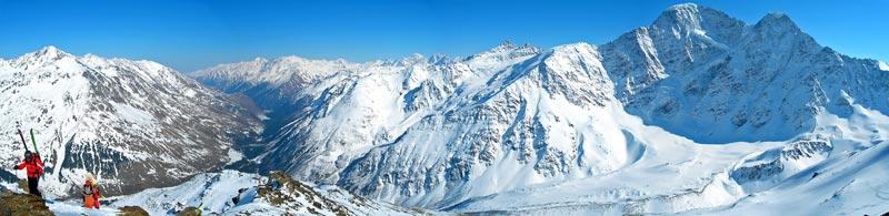 панорама с Чегета горные лыжи Приэльбрусье